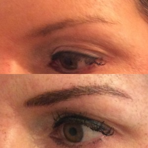 Kim's eyebrows before and after
