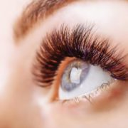 Woman's beautiful, long eye lashes.