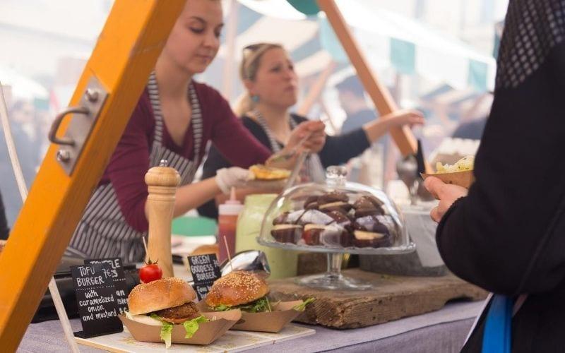 Vendors at a food festival.