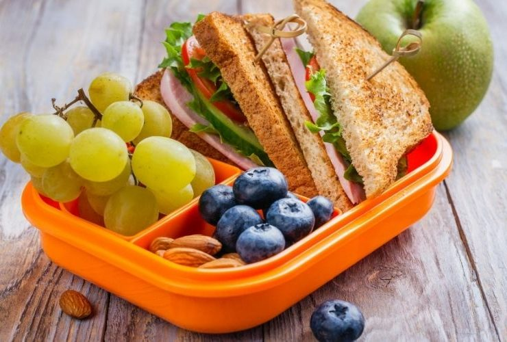 Healthy food in a lunch box.