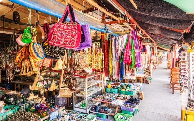 International gift shop with different, colorful items.