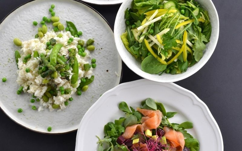 Delicious, healthy food on white plates.