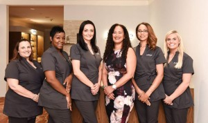 The spa staff: (L to R) Jeamae, Ollieta, Violeta, Jo Hyde, Bridget, Kelsey.