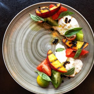 Grilled Peach and Heirloom Tomato Caprese