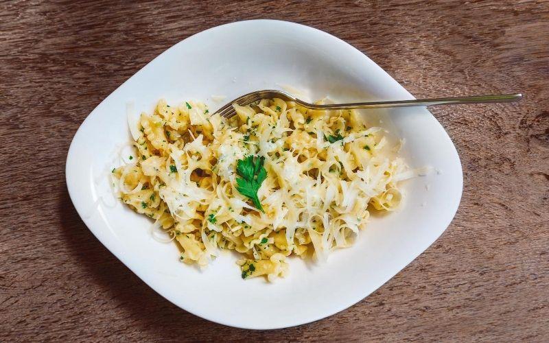 Campanelle pasta in a bowl.