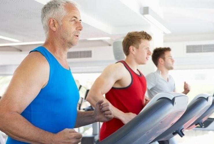Men running on treadmills.
