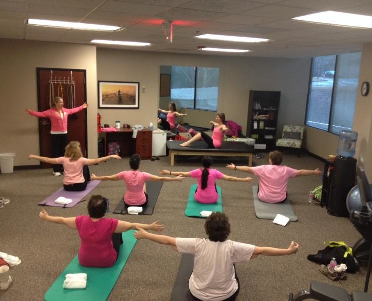 Women in great cancer rehabilitation class.