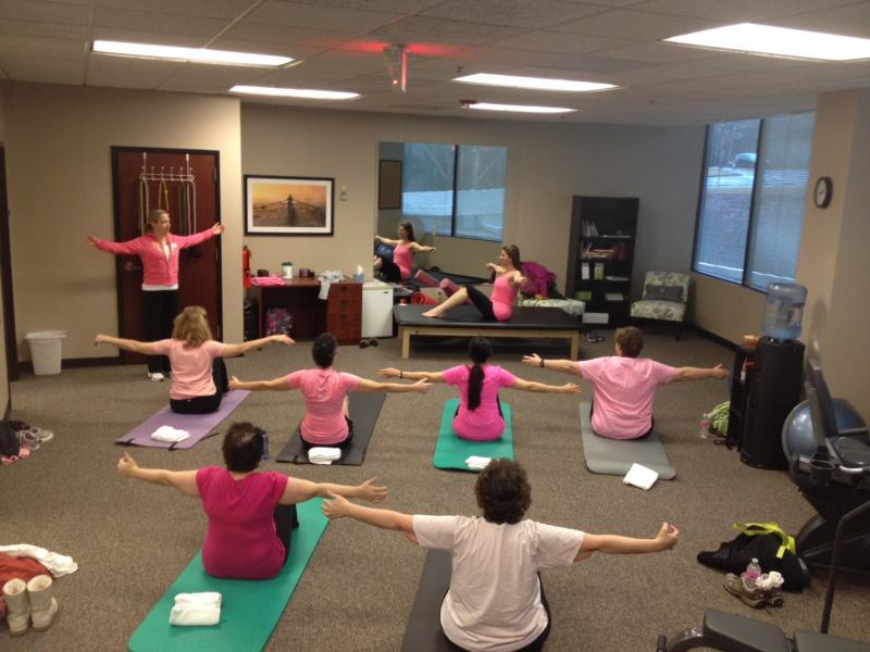 Women in great cancer rehabilitation class.