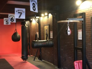 The different kickboxing stations