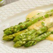 Asparagus with cashew hollandaise sauce.