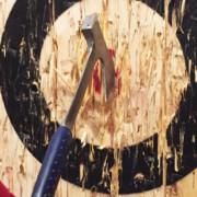 Axe bullseye on wooden target.