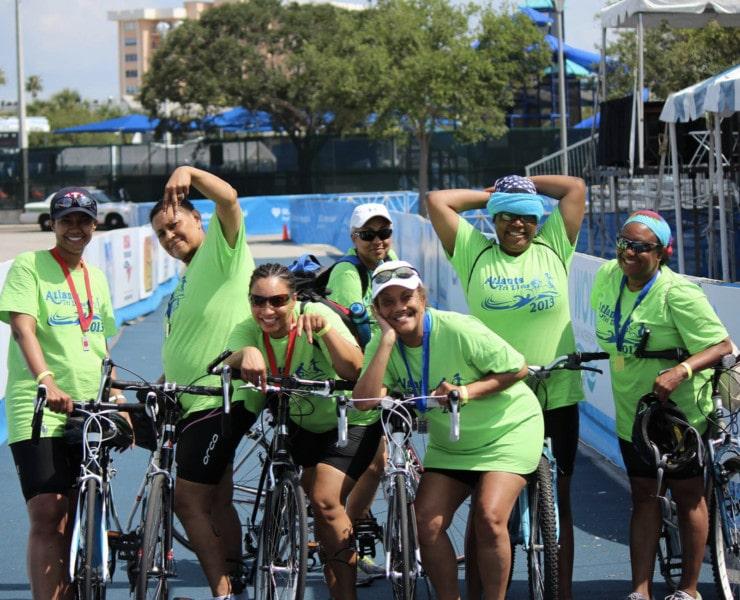 Atlanta Tri Sisters prepping for a triathlon.