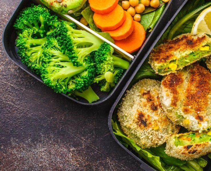 Healthy food in meal prep containers.