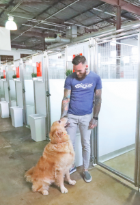 WAYNE BODE, DOG BEHAVIOR SPECIALIST, COMFORTS A SENIOR GOLDEN RETRIEVER IN FRONT OF THE NEW DOG DENS AT THE DOWNTOWN LOCATION.