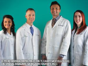 TO R): ANISHA PATEL, PA-C; DR. T. CASEY MCCULLOUGH; DR. VISHAL BHALANI; MORGANN HARNEY, PA-C