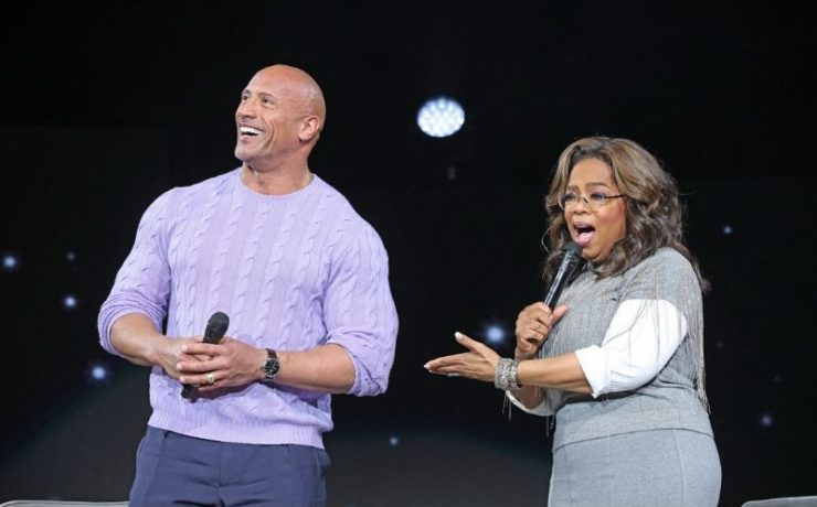 Oprah and the Rock talk on stage