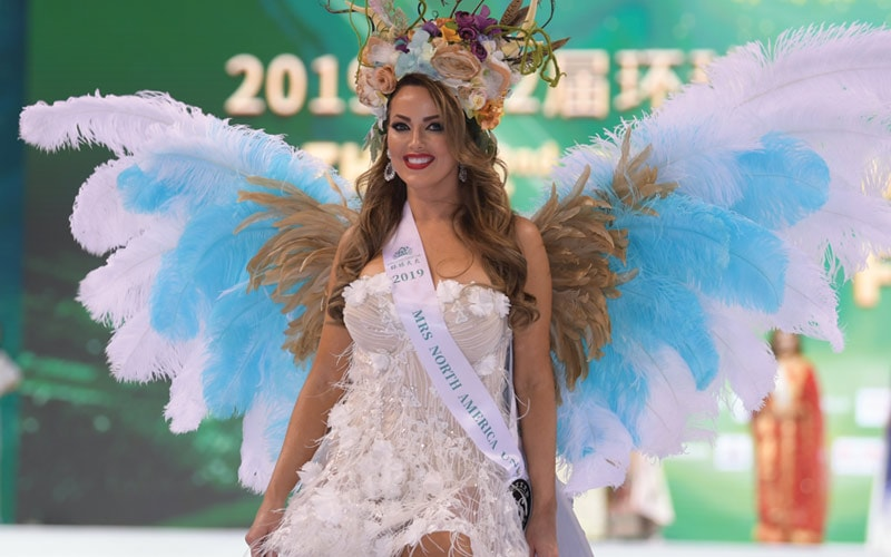 Lisa Mohager wearing a custome for the Mrs Successful Universe Contest