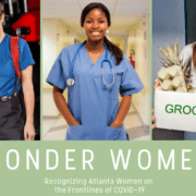 A woman firefighter, nurse, and food worker
