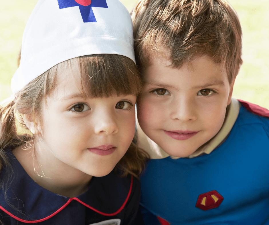 Kids in healthcare halloween costumes