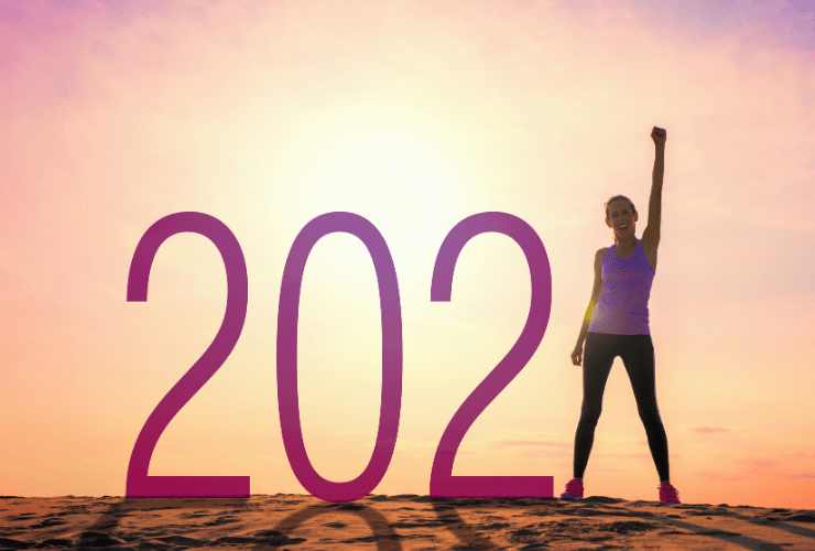 Woman celebrating 2021 and healthy back