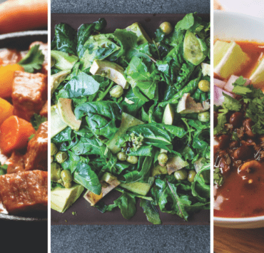 Three heart healthy foods stew, avocado, and black beans