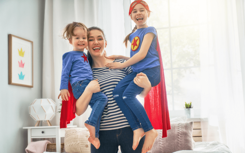 Mother with two super girls