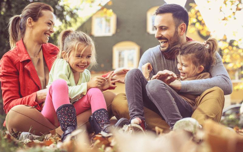 Family enjoying the outside