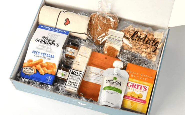 Several local items in the Unexpected Gifts Atlanta Love Box